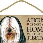 Tibetan Terrier Indoor Dog Breed Sign Plaque – A House Is Not A Home + Bonus Coaster 1