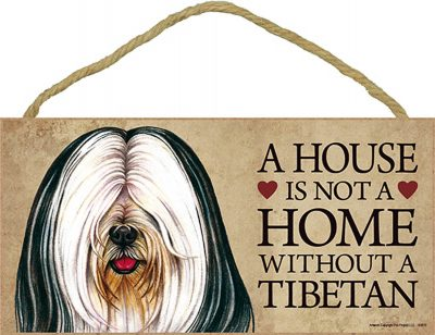 Tibetan Terrier Indoor Dog Breed Sign Plaque - A House Is Not A Home + Bonus Coaster