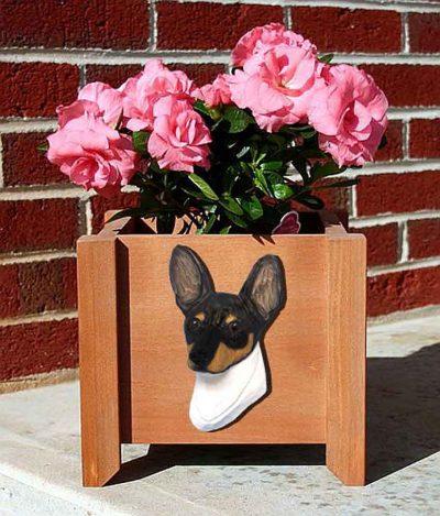 Toy Fox Terrier Planter Flower Pot Tri