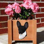 Toy Fox Terrier Planter Flower Pot Black White 1