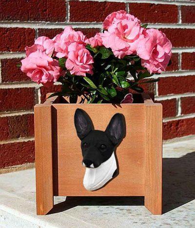 Toy Fox Terrier Planter Flower Pot Black White