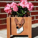 Toy Fox Terrier Planter Flower Pot Red White 1