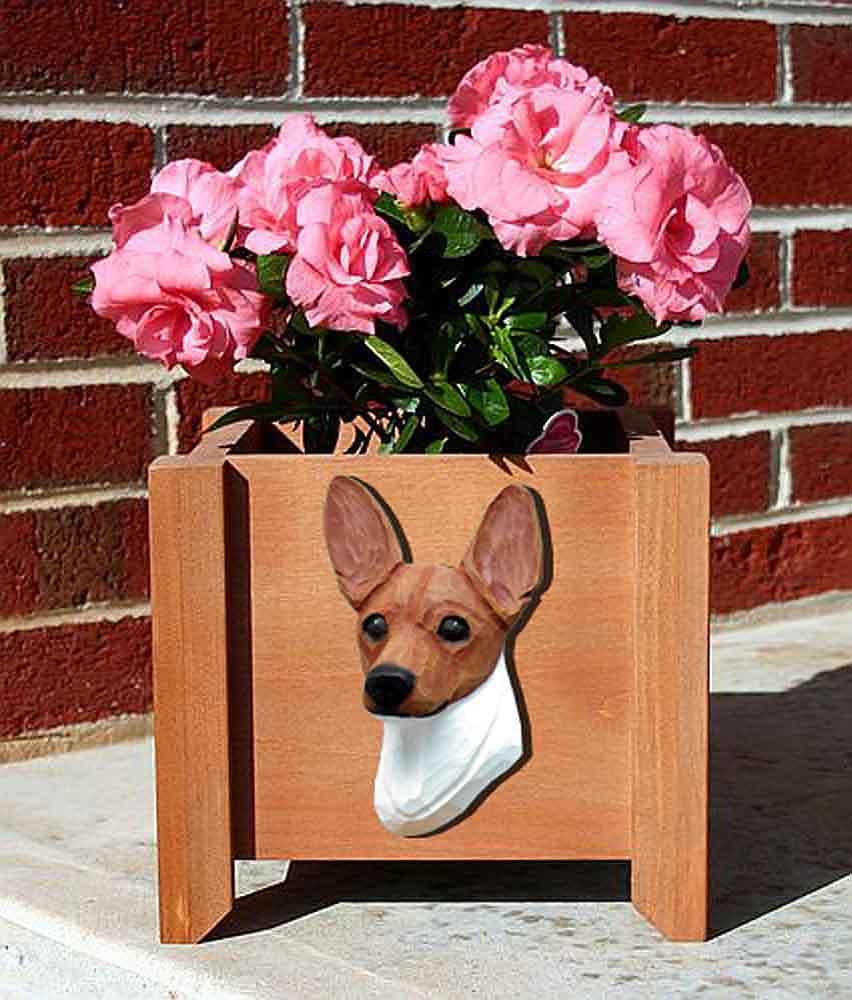 Toy Fox Terrier Planter Flower Pot Red White