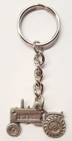 Tractor Keychain Silver Pewter Key Chain Ring