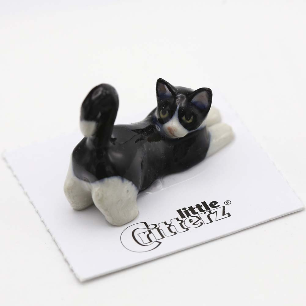 Black & White Cat Porcelain Figurine
