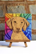 Vizsla Colorful Portrait Original Artwork on Ceramic Tile 4x4 Inches
