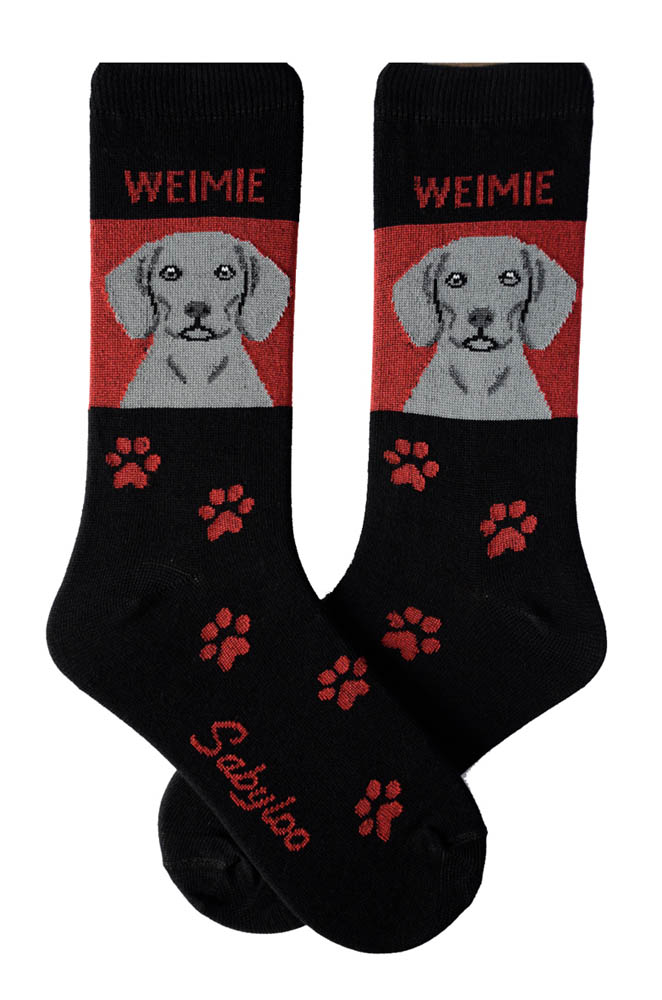 Weimaraner Socks - Red & Black in Color