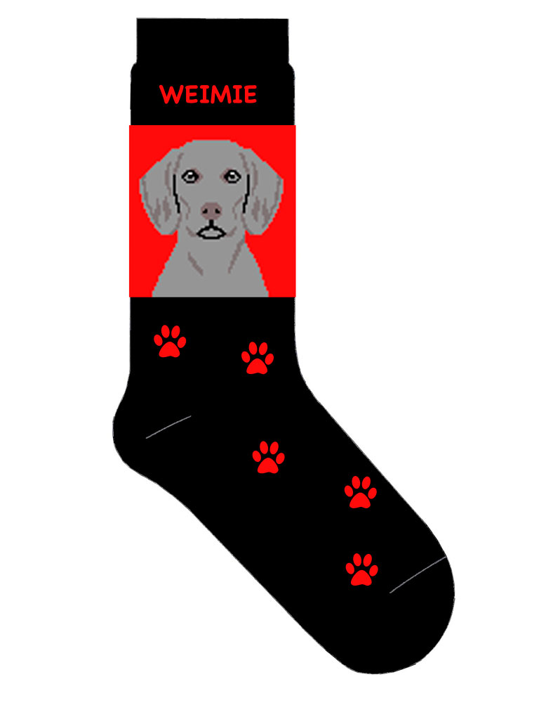 Weimaraner Socks Black & Red with Red Paw Prints
