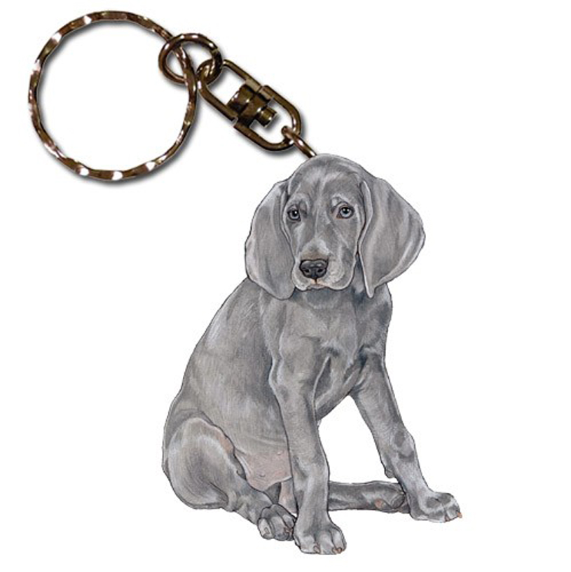 Weimaraner Wooden Dog Breed Keychain Key Ring