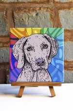 Weimaraner Colorful Portrait Original Artwork on Ceramic Tile 4x4 Inches