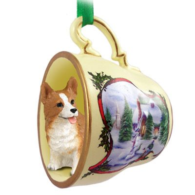 Corgi Dog Christmas Holiday Teacup Ornament Figurine Pembroke 1