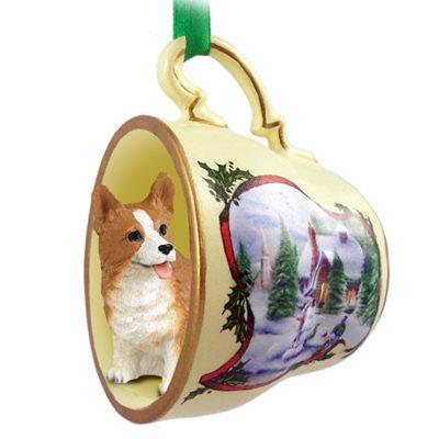 Corgi Dog Christmas Holiday Teacup Ornament Figurine Pembroke