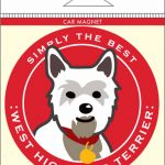 West Highland Terrier Westie Car Magnet 4×4″ 1
