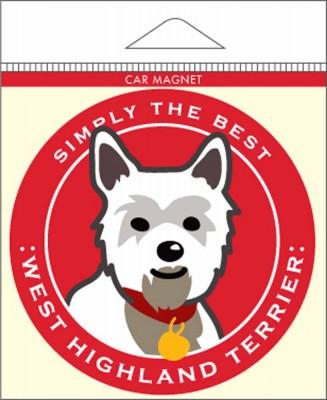 West Highland Terrier Westie Car Magnet 4×4″ 1