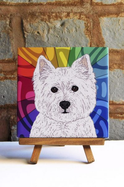 Westie Colorful Portrait Original Artwork on Ceramic Tile 4x4 Inches