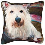 Westie Artistic Throw Pillow 18X18""