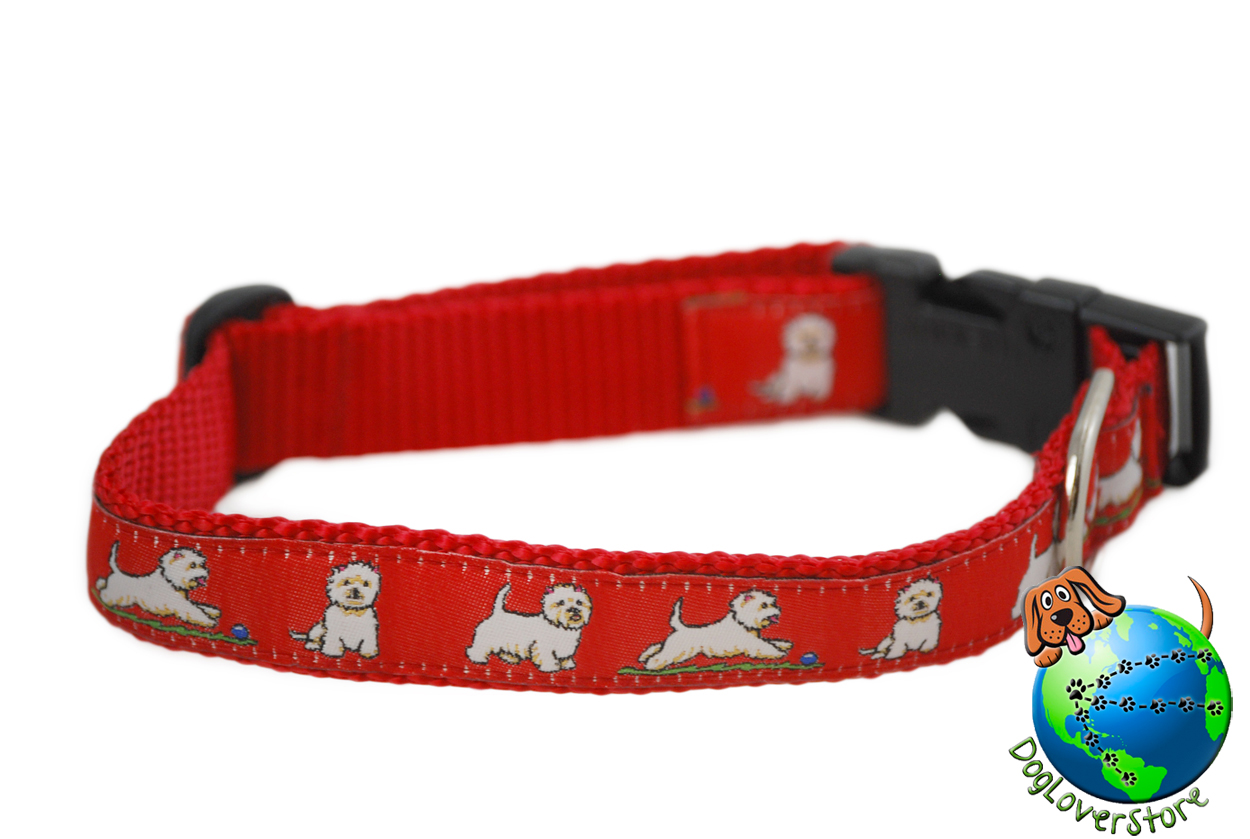 "Westie Dog Breed Adjustable Nylon Collar Medium 10-16"" Red"