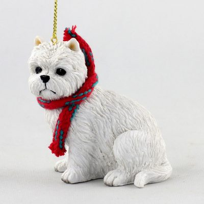 Westie Dog Christmas Ornament Scarf Figurine 1