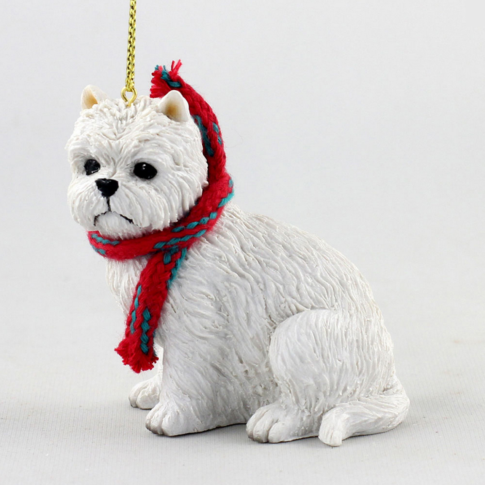 Westie Dog Christmas Ornament Scarf Figurine