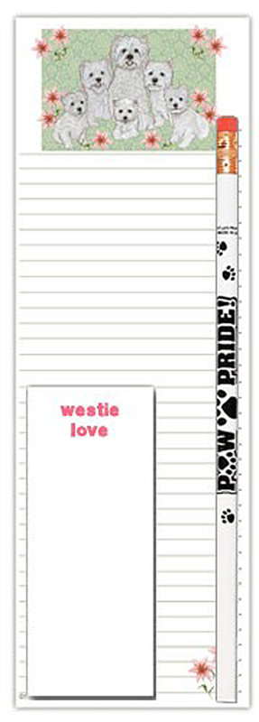 Westie Dog Notepads To Do List Pad Pencil Gift Set