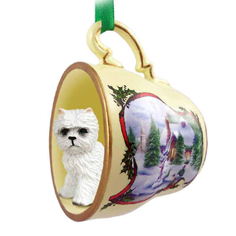 Westie Dog Christmas Holiday Teacup Ornament Figurine
