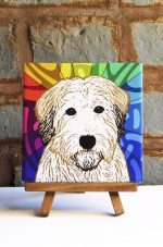 Soft Coated Wheaten Terrier Colorful Portrait Original Artwork on Ceramic Tile 4x4 Inches