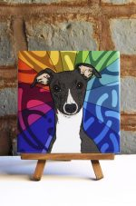 Whippet Colorful Portrait Original Artwork on Ceramic Tile 4x4 Inches