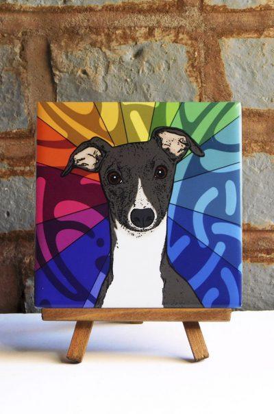 Whippet Colorful Portrait Original Artwork on Ceramic Tile 4x4 Inches