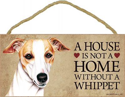 Whippet Wood Dog Sign Wall Plaque Photo Display 5 x 10 - House Is Not A Home + Bonus Coaster