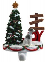 Whippet Stocking Holder Hanger Gray