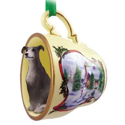 Whippet Dog Christmas Holiday Teacup Ornament Figurine Gray 1