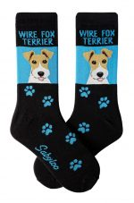 Wire Fox Terrier Socks - Blue & Black in Color