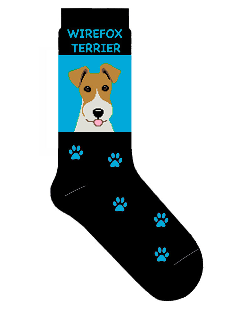Wire Fox Terrier Socks Blue