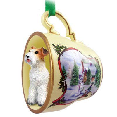 Wirehair Fox Terrier Dog Christmas Holiday Teacup Ornament Figurine