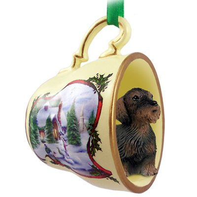 Dachshund Dog Christmas Holiday Teacup Ornament Figurine Wirehaired