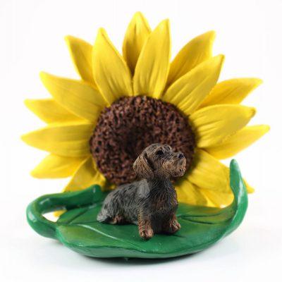 Wirehair Dachshund Figurine on a Sunflower