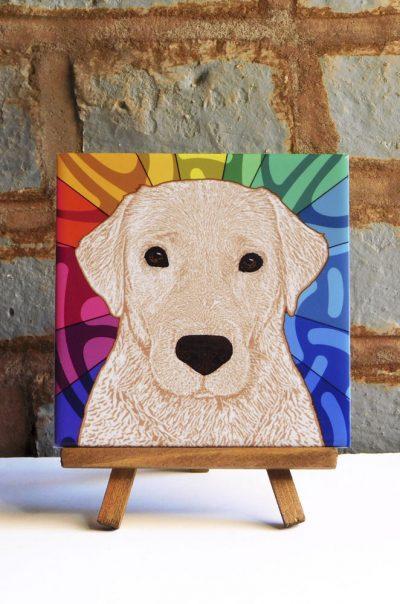 Yellow Lab Colorful Portrait Original Artwork on Ceramic Tile 4x4 Inches