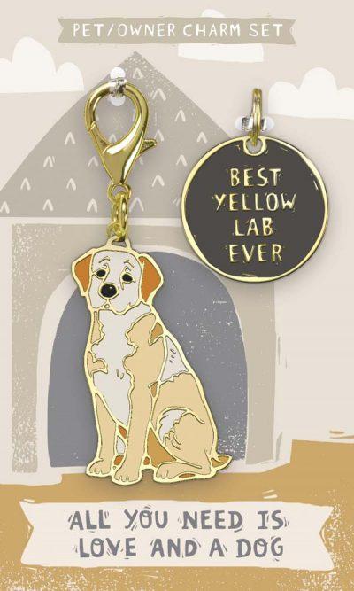 Yellow Lab Collar Charm and Keychain Set