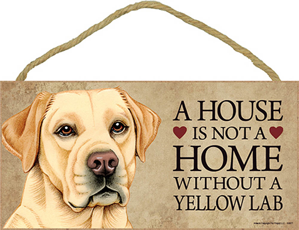 Yellow Lab Wood Dog Sign Wall Plaque Photo Display 5 x 10 + Bonus Coaster