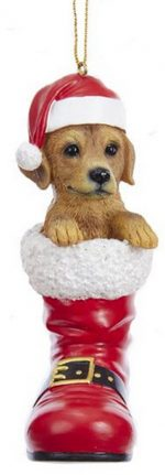 Yellow Lab Santa Boot Ornament