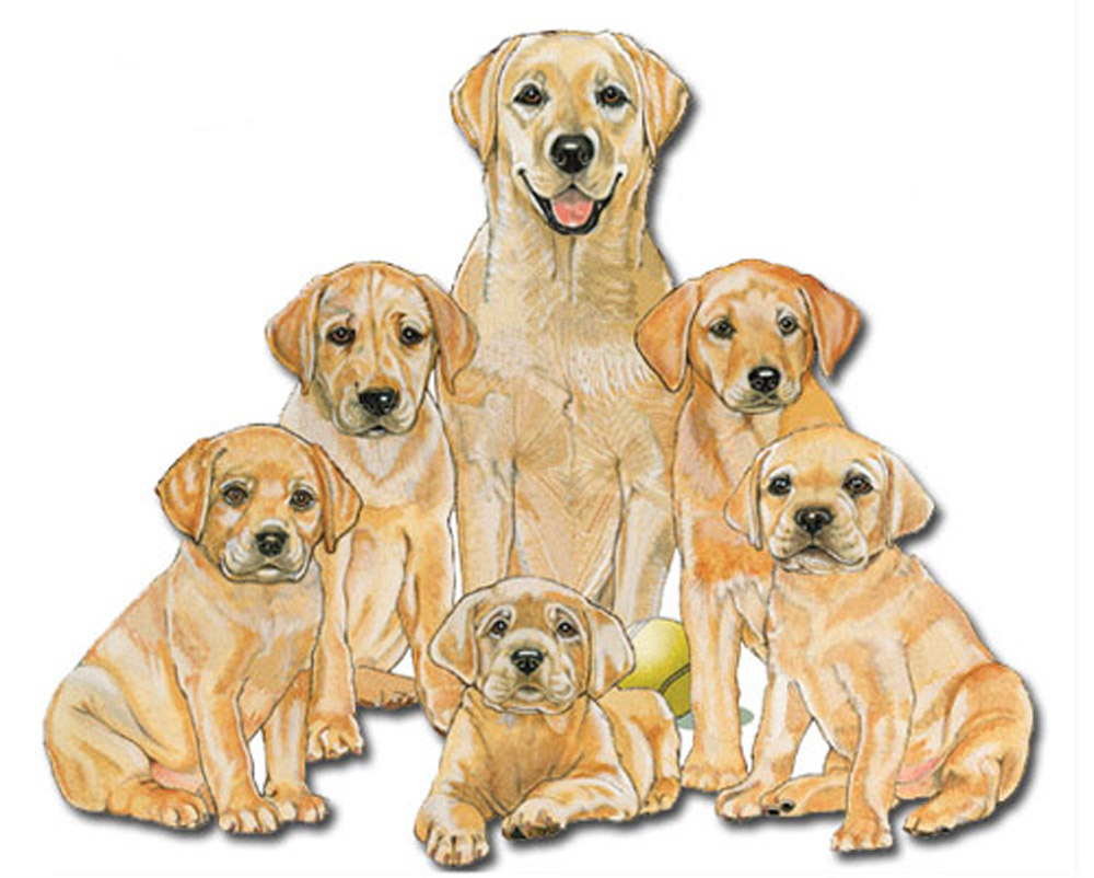 Yellow Lab Wooden Magnet Family