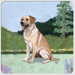 Yellow Labrador Yard Scene Coasters