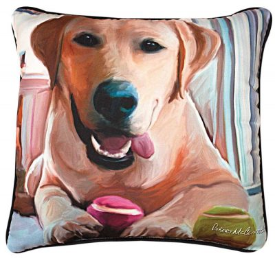 Yellow Labrador Artistic Throw Pillow 18X18""