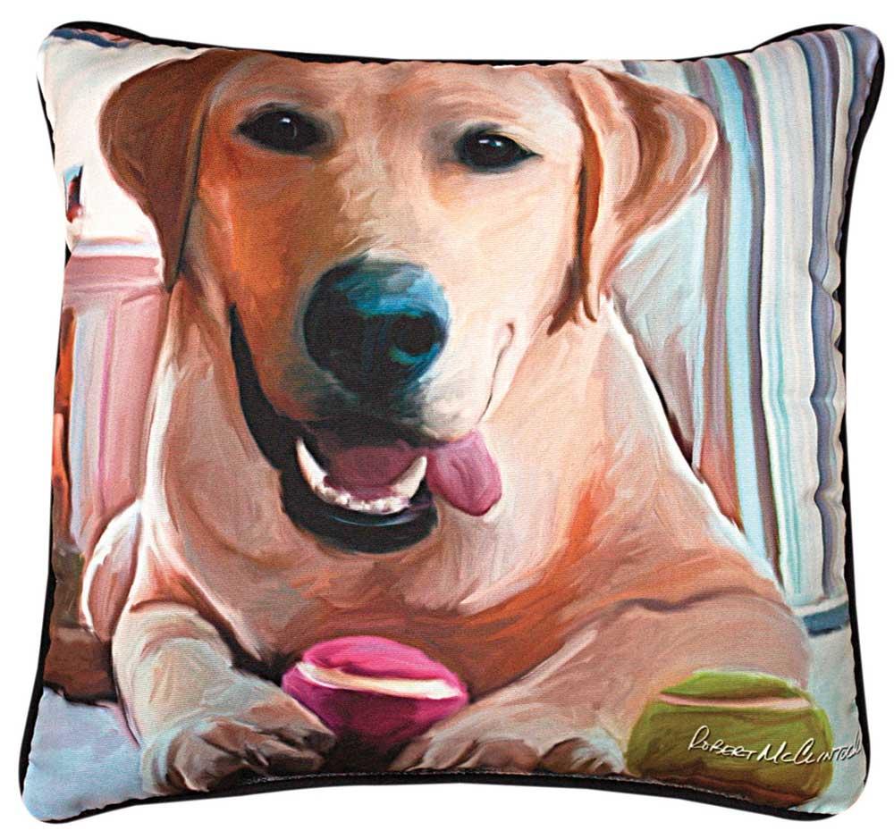 """Yellow Labrador Artistic Throw Pillow 18X18"""""""
