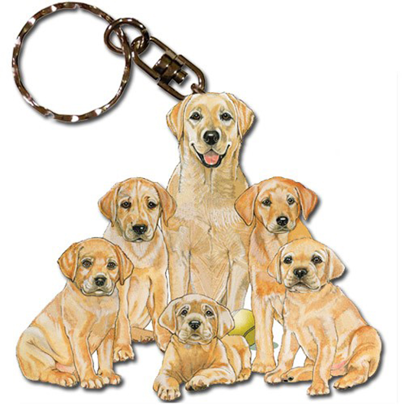 Yellow Labrador Wooden Dog Breed Keychain Key Ring
