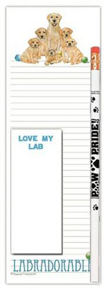 Yellow Lab Dog Notepads To Do List Pad Pencil Gift Set