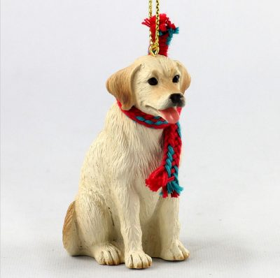 Yellow Labrador Dog Christmas Ornament Scarf Figurine 1