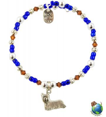 Yorkie Beaded Charm Bracelet Silver Handmade