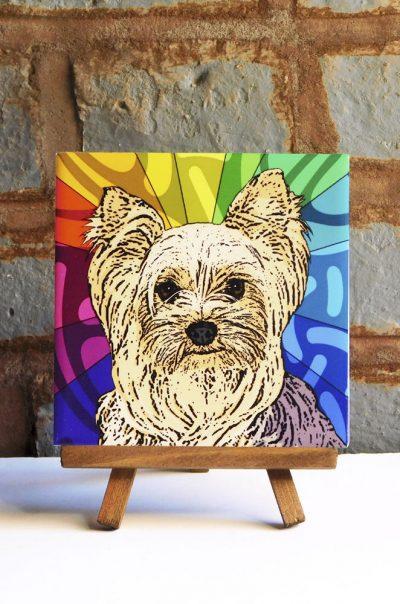 Yorkie Colorful Portrait Original Artwork on Ceramic Tile 4x4 Inches