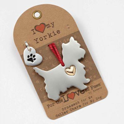 Yorkie Holiday Ornament & Collar Charm Set